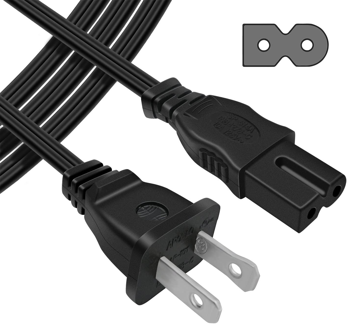 POWSEED 6Ft 2 Prong Polarized AC Wall Power Cable Cord Plug for Sony PlayStation 1 2 PS1 PS2 Vizio Sharp Sanyo Emerson TV UL Listed Bose Companion 3 5 Multimedia Speaker System Arris Router Modem