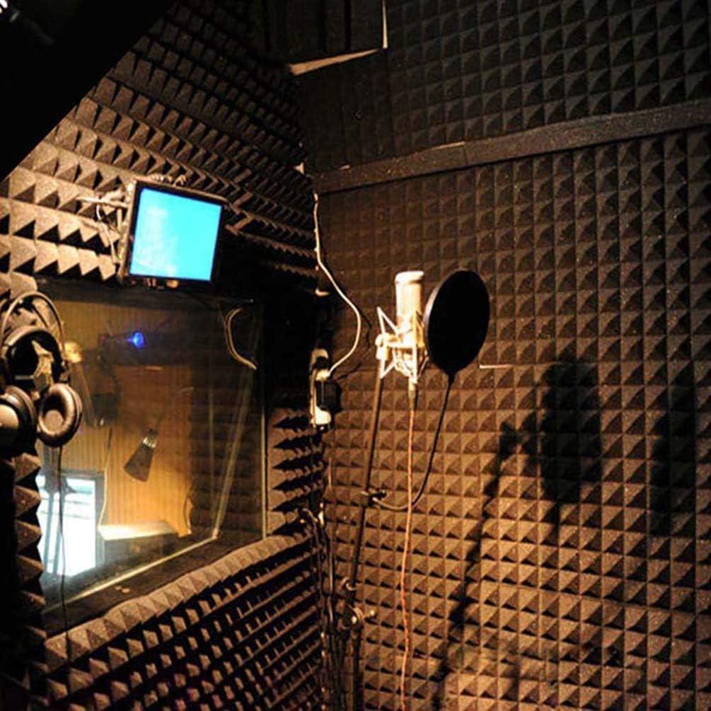 pour la maison ou le studio jaune Lot de 12 panneaux muraux en mousse acoustique pyramide pour isolation acoustique 25 x 25 x 5 cm