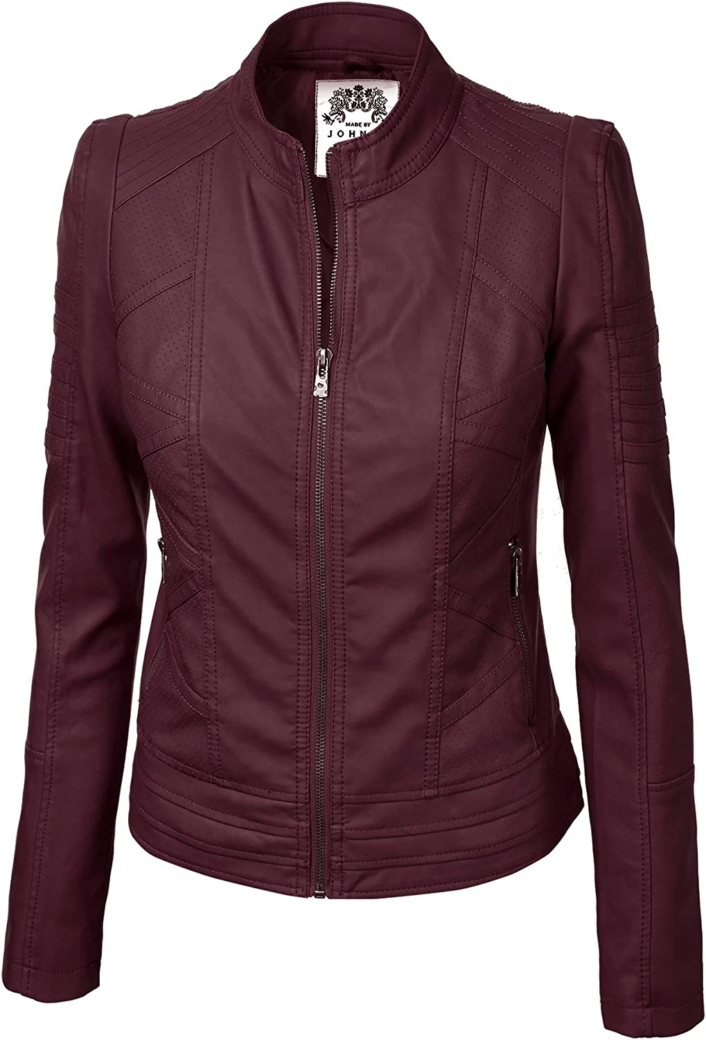 Made By Johnny MBJ WJC746 Womens Vegan Leather Motorcycle Jacket L Wine