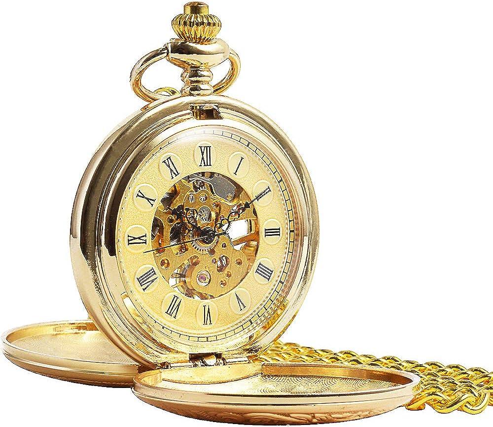 ManChDa® Vintage Champagne Oro Reloj de Bolsillo para los Hombres Mujeres Cazador de Doble Grabado Esqueleto Movimiento mecánico de Oro Números Romanos con Cadena + Caja Regalo: Amazon.es: Relojes