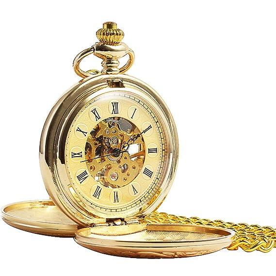 ManChDa® Vintage Champagne Oro Reloj de Bolsillo para los Hombres Mujeres Cazador de Doble Grabado Esqueleto Movimiento mecánico de Oro Números Romanos con ...