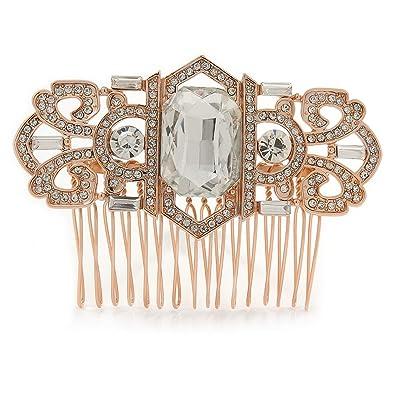 Brautschmuck haare kamm  Brautschmuck/Hochzeit/Ball/Party Art-Deco-Stil Rose Gold Ton Ton ...