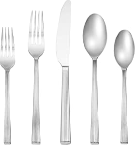 Cambridge Silversmiths Oakridge 20-Piece Flatware Silverware Set, Service for 4, Stainless Steel, Includes Forks/Knives/Spoons, Mirror Finish
