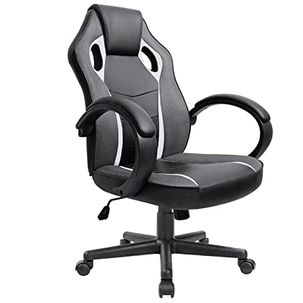 Furmax Executive Racing Office Chair PU Leather Swivel Computer Desk Seat  PU Leather And Mesh Bucket