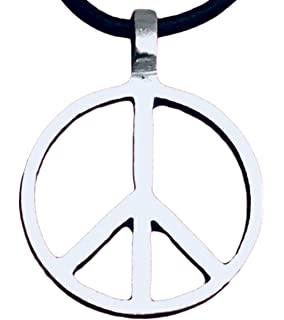 c35c5eb04 Trilogy Jewelry Pewter Classic Peace Sign Love Hippie Pendant on Leather  Necklace