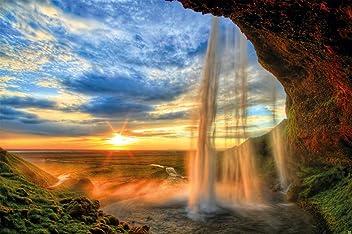 great-art Fototapete Sonnenuntergang im Naturpark - 336 x 238 cm 8-Teilige Tapete Wasserfall Wandtapete
