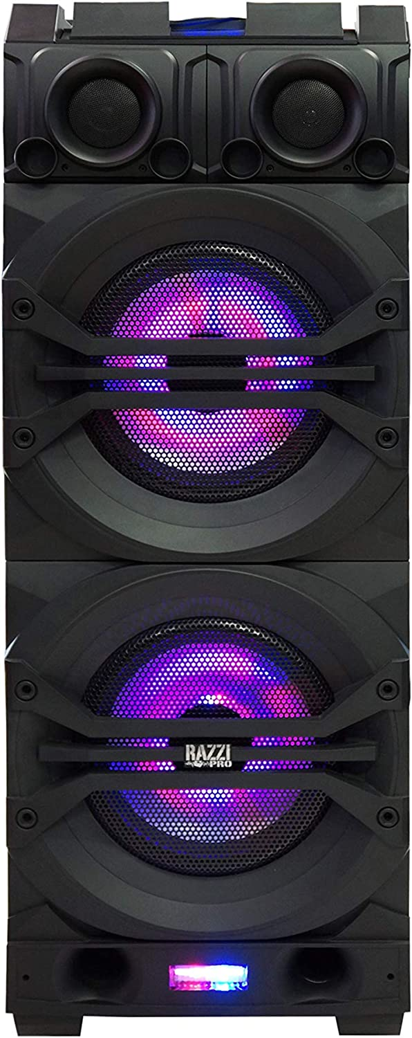 "RAZZI PRO 3-Way Dual 12"" Portable Active Full Range Speaker, 12000 Watts P.M.P.O, Rechargeable Battery, Built-in Bluetooth Technology (GALAXY)"