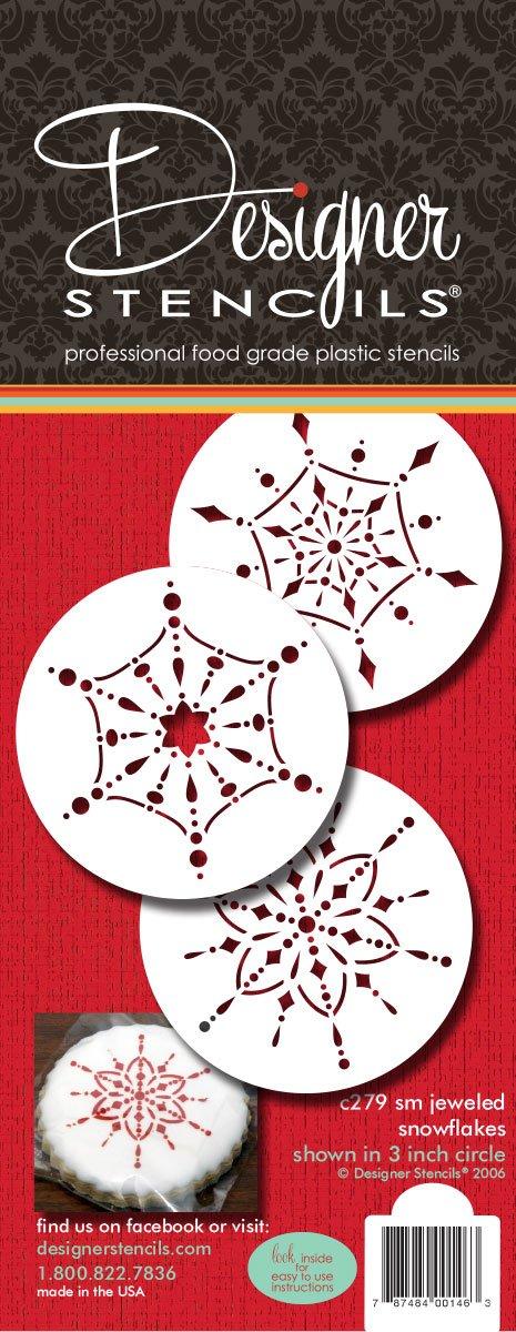 designer stencils C279 Small Jeweled Snowflakes Cookie Stencils, Beige/semi-transparent