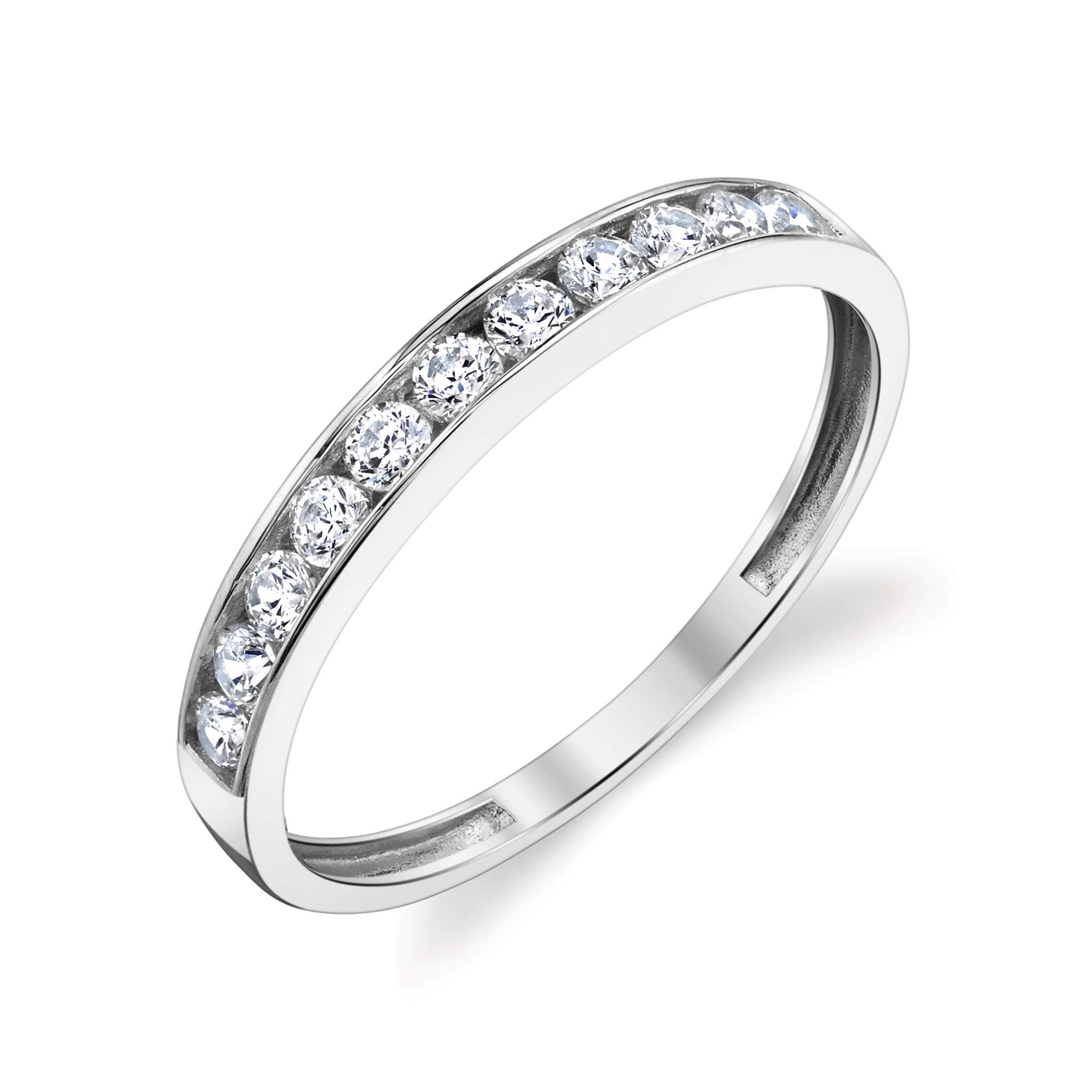 Tesori & Co 10k Solid White Gold Channel Wedding Band Ring Size 8