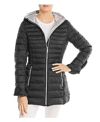106ed6a4a6 Black T Tahari Women's Maya Ruffled Puffer Packable Coat With Ruffles ...
