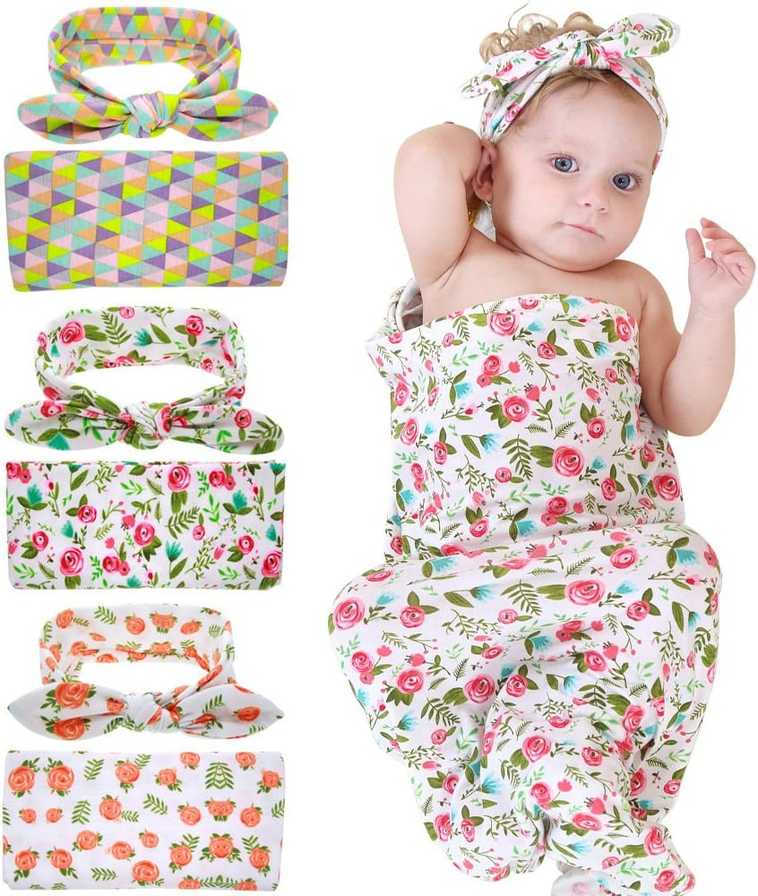 Bigface Up Swaddle Sack,Newborn Baby Sleep Blanket with Headband 3 Sets