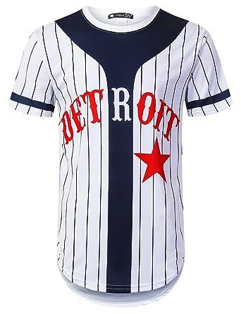 2823a648802 Amazon.com: URBANTOPS Mens Hipster Hip Hop Sports Varsity Graphic Longline T -Shirt: Clothing