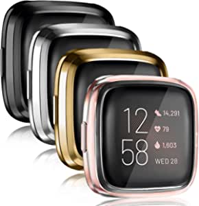 4 Pack Vancle Case Compatible with Fitbit Versa 2, Soft TPU All-Around Cover Anti-Scratch Screen Protector Bumper for for Versa 2 Smartwatch Only