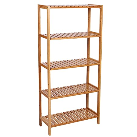 Charming SONGMICS 5 Tier Bamboo Bathroom Storage, Storage Shelves, Stand Shelves,  Shoe Rack 130