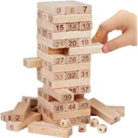 Shanbuyers 51 Pcs Challenging Wooden Tumbling Stacking Jenga with 4 Dice for Adults and Kids. Make Maths Fun for Kids or Have Party Fun