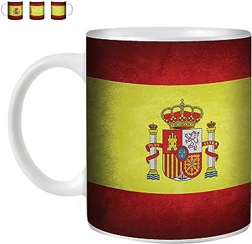 Stuff4 Taza de Café/Té 350ml/España/Español/Banderas de la Vendimia/Cerámica Blanca/ST10: Amazon.es: Electrónica