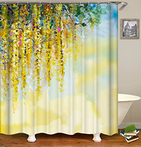 Floral Thick Polyester Fabric Shower Curtain Set,Gold Wisteria,Mildew  Resistant Waterproof Machine Washable