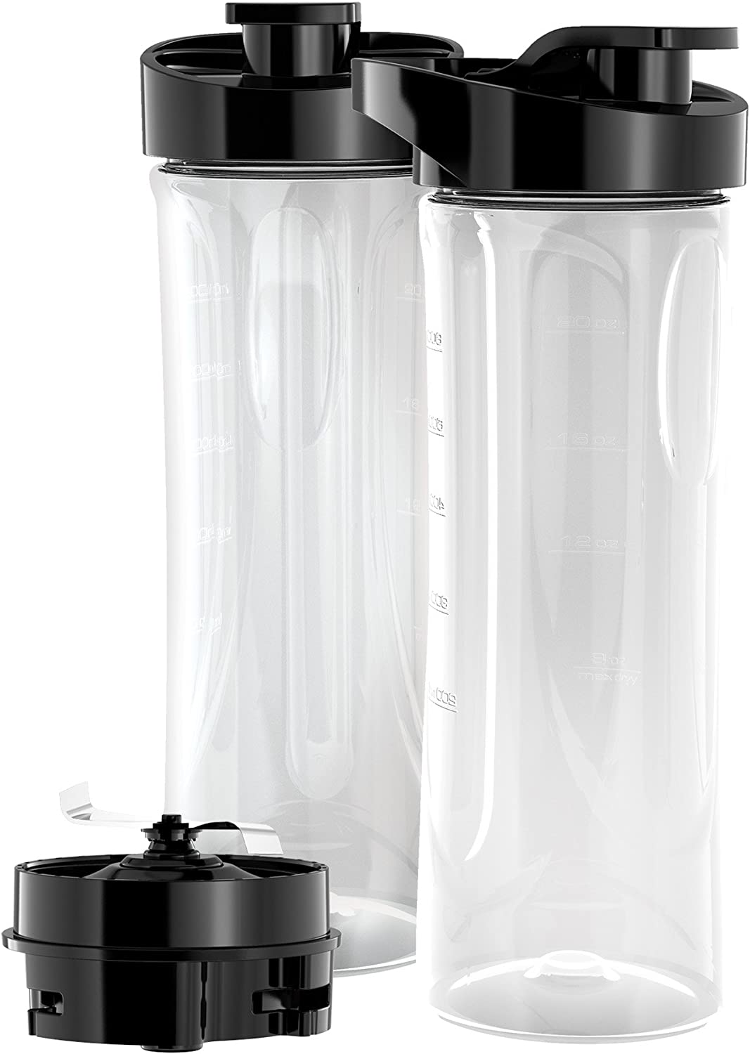 BLACK+DECKER PBJ2000 FusionBlade 20 Ounce BPA-Free Personal Blender Jars (2-Pack with Travel Lids)