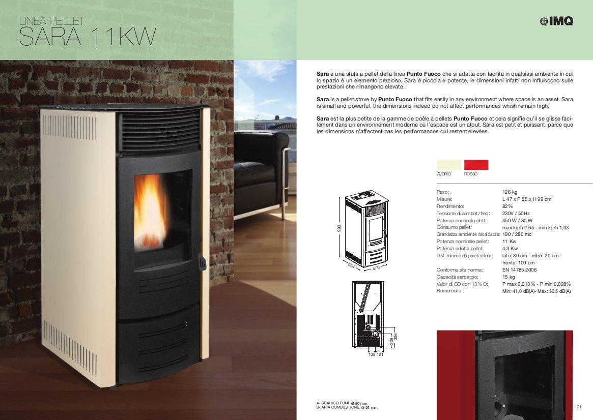 Estufa a PELLAS punto Fuego Sara Color Marfil - Potencia térmica 2,8 - 11 kW hasta a 320 M³: Amazon.es: Bricolaje y herramientas