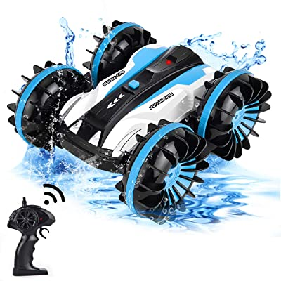 Flyglobal Remote Control Car Water and Land, 4WD Waterproof RC Car Boat Truck 2.4Ghz Double Sided Rotate 360 Degree Spinning and Flips Car Vehicles Toys for Kids Blue: Toys & Games [5Bkhe0305016]