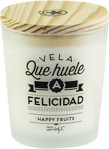 Mr. Wonderful Vela huele a Felicidad-Happy Fruits, Cristal, Blanco, 8.00x9.00x8.00 cm: Amazon.es: Hogar