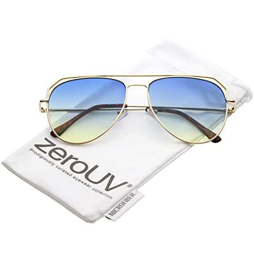 6b32c80b89fc zeroUV - Modern Open Metal Double Crossbar Gradient Flat Lens Aviator  Sunglasses 55mm (Gold