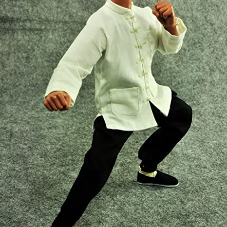 Amazon.com: 1/6 White Suit Kung Fu Chinese Costume Clothes ...