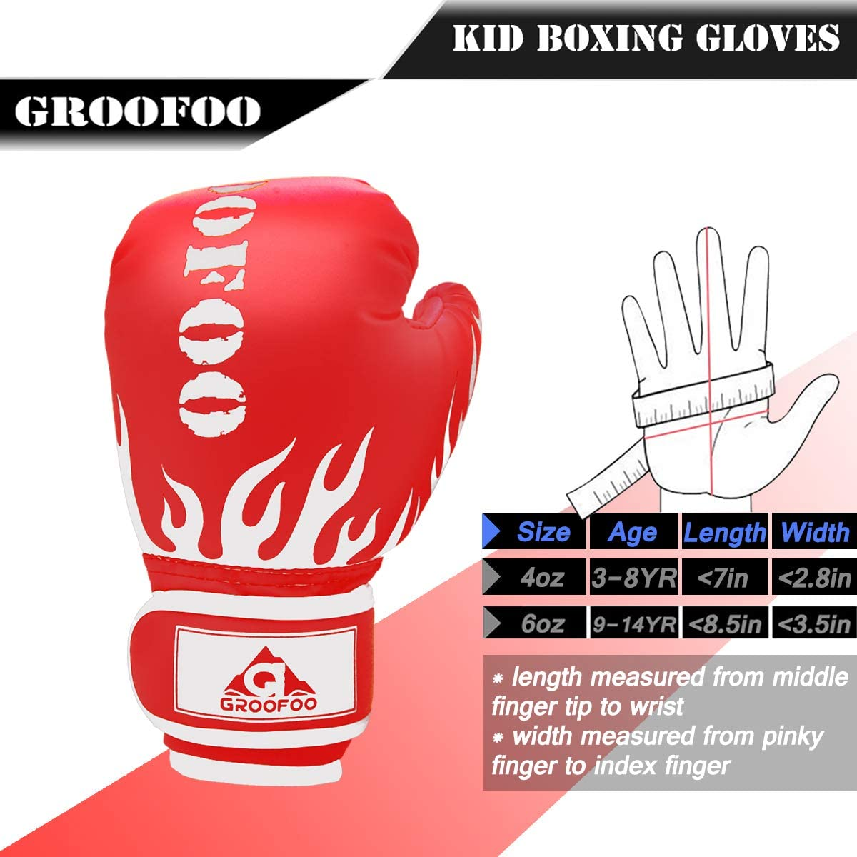 GROOFOO Kids Boxing Gloves for Child Punching Bag Sparring 4oz 6oz fit 3 to 14 Years