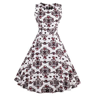 Women Retro Dress 50s 60s Vintage Rockabilly Swing Feminino Vestidos Flamingo Floral Print Party Dress,