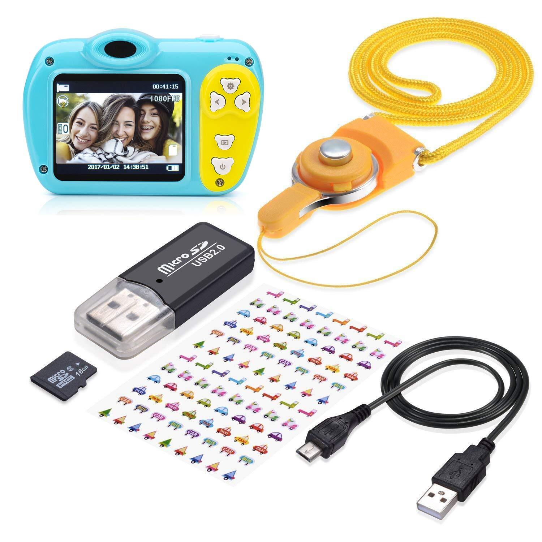 SIKVIO Mini 2.0 Inch Screen Kids Childrens Digital Camera, 1080P HD Mini Digital Video Recorder Camcorder Camera with Loop Recording 16GB Cards for Boys Girls