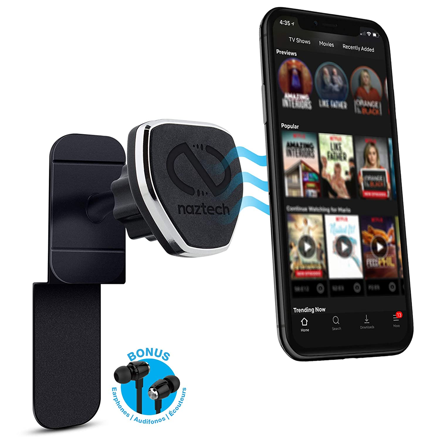 Naztech MagBuddy Universal Magnetic In-Flight Mount Turns Your Tablet or Phone Into Your Own Seat Back Entertainment For Use on the Plane,Train,Car