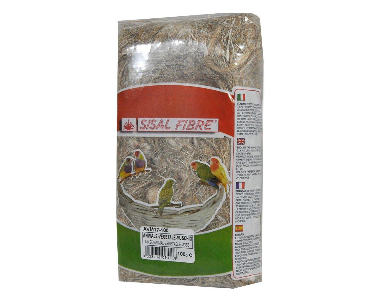 SISAL FIBRE Mélange Animal/Végétal/Mousse pour Oiseau 100 g 9797