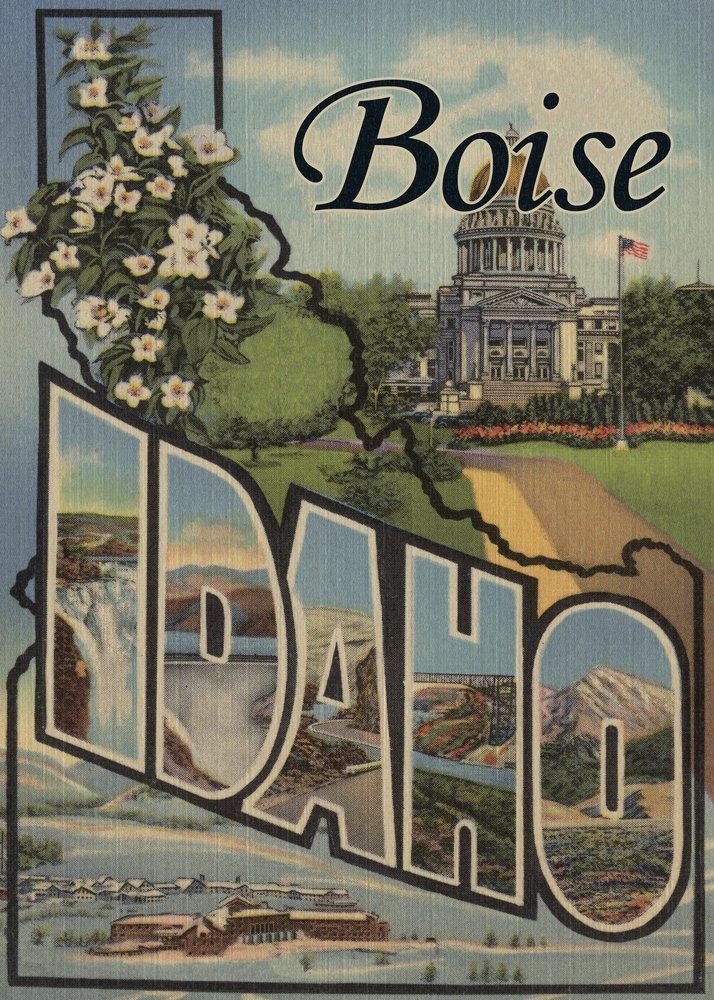 Boise、アイダホ – Large Letterシーン 9 x 12 Art Print LANT-7822-9x12 B01AW3VFWG 9 x 12 Art Print9 x 12 Art Print