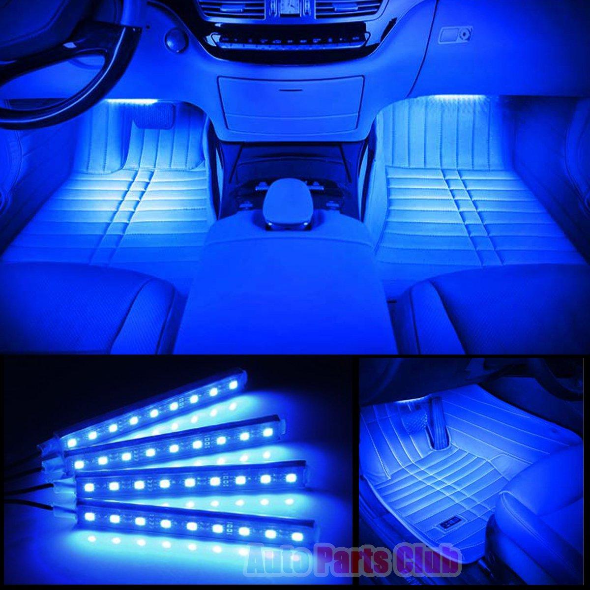 Car Interior Lights,Auto Parts Club 4pcs 12V Led Car Interior Lights/Car Atmosphere Light,Waterproof Glow Neon Light Strips Styling Interior Dash Floor Foot Decoration Light Lamp(Blue)
