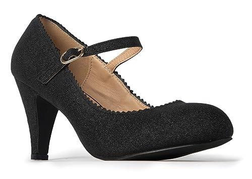 4044c0fb1cc8b Amazon.com | J. Adams Mary Jane Kitten Heels - Vintage Retro Scallop ...