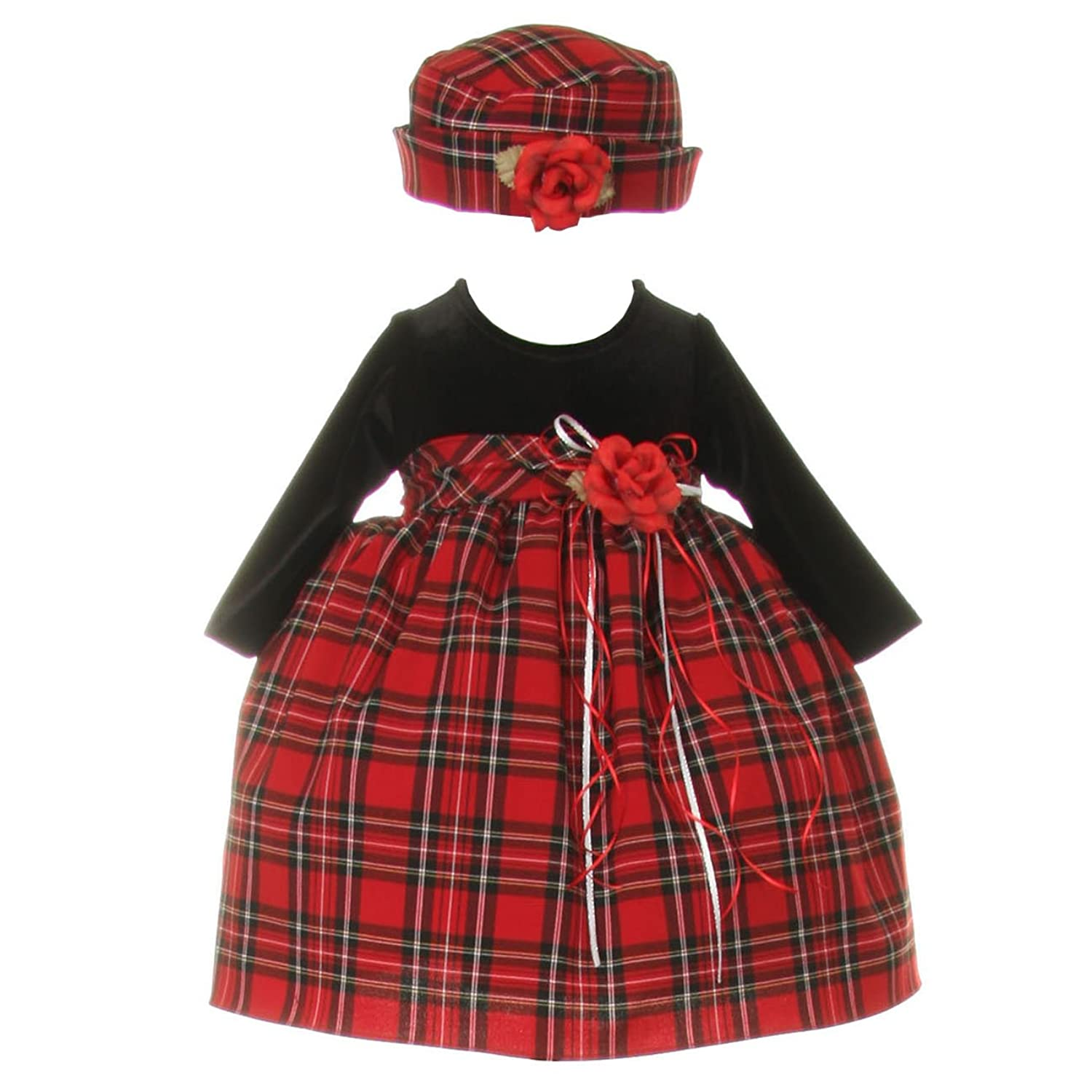 Amazon Baby Girls Black Red Velvet Checker Corsage Hat