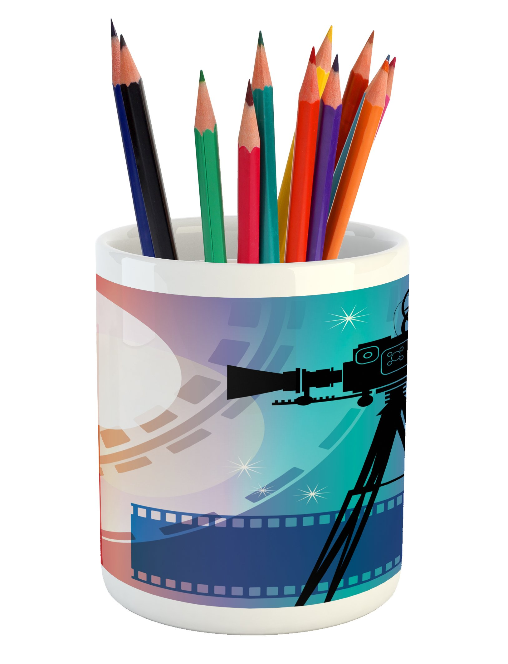 Ambesonne Cinema Pencil Pen Holder, Colorful Projector Silhouette with Movie Reel Vintage Design Entertainment Theme, Printed Ceramic Pencil Pen Holder for Desk Office Accessory, Multicolor