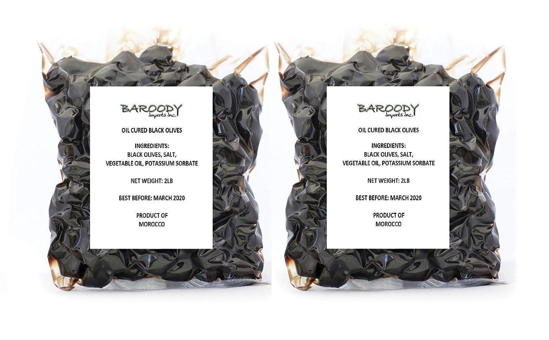Moroccan Black Olives in Oil Cured In Air Vacuumed Packs - Pack of 2 - زيتون أسود مغربي - عطون أسود