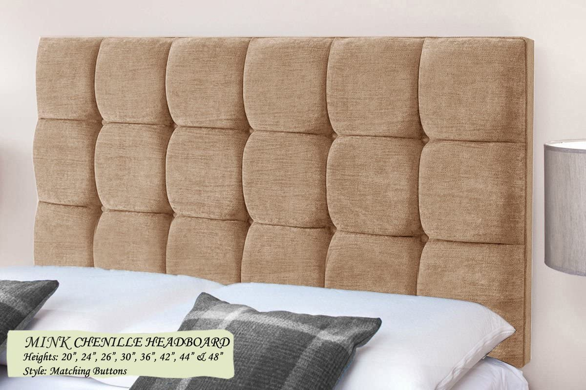 w//Fixings TrendMakers Premium 4FT Small Double Bed RASPBERRY CHENILLE Headboards MATCHING BUTTONS Height 20 51cm