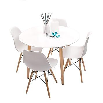 Conjunto de Comedor de diseño nórdico NORDIK-MAX con Mesa Redonda de ...