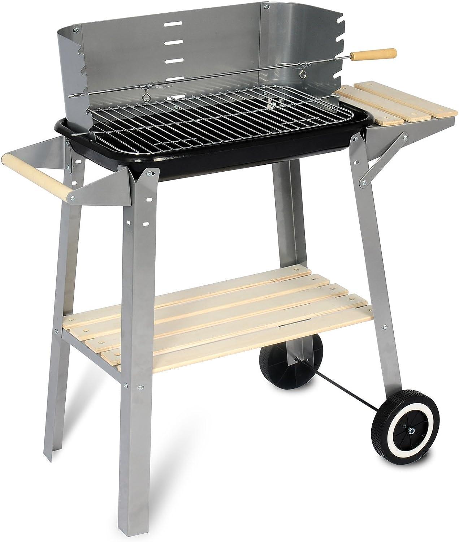 avec Couvercle et 2 roulettes SBBQ0006 eSituro Barbecue /à Charbon de Bois sur Pieds R/églable en Hauteur pour Jardin Camping BBQ