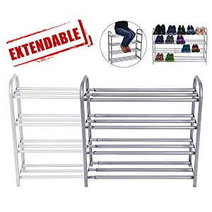 GEMITTO Meuble Chaussures, 4 Couches Robuste Porte-Chaussures, Extensible Étagère à Chaussures 60-106cm...