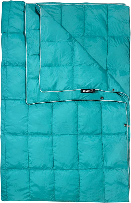 Ideal for Outdoors Beach Lightweight and Warm Water-Resistant Camp Quilt Extra Puffy Get Out Gear Double Puffy Camping Blanket Stadium Packable Festivals Travel Hammock Teal Blue//Gray