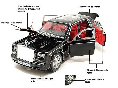 Ktrs Diecast Rolls Royce Phantom Die Cast 4 Wheel Drive Metal Car Car Toy 1 24 132 Diecast Cars Die Cast Metal Play Set Pull Back With 3 Openable