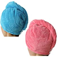Lesirit Microfiber Hair Drying Towel with Button Ultra Absorbent Twist Hair Turban Quick Drying Cap Hair Wrap Pack of 2