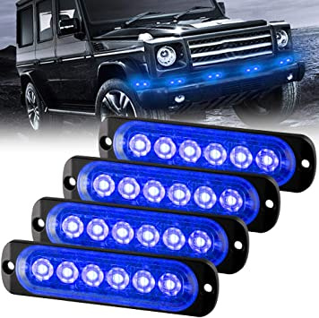 4pcs Ultra Thin 10 LED Light Head Emergency Hazard Beacon Caution Warning Strobe Lights Surface Mount for Truck Car Vehicle Blue 12-24V