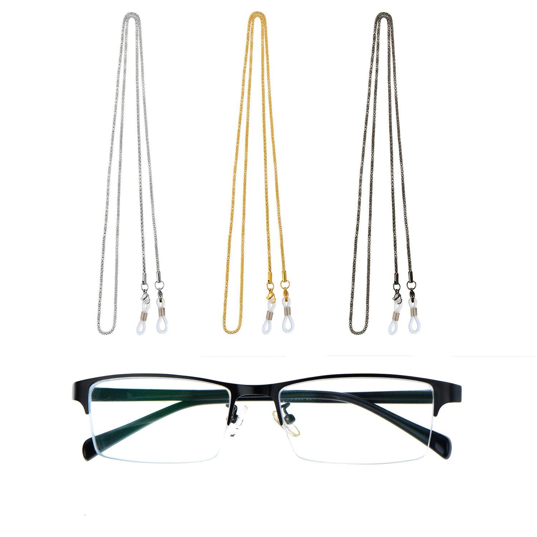 669e7f31fbb Amazon.com  Whaline 3 Pieces Eyeglasses Chain Cord Sunglass Neck Strap  Holder Silver Golden Black  Clothing