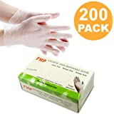 Disposable Vinyl Gloves, Non-Sterile, Powder Free, Smooth Touch, Food Service Grade, Large Size [200 Pack]