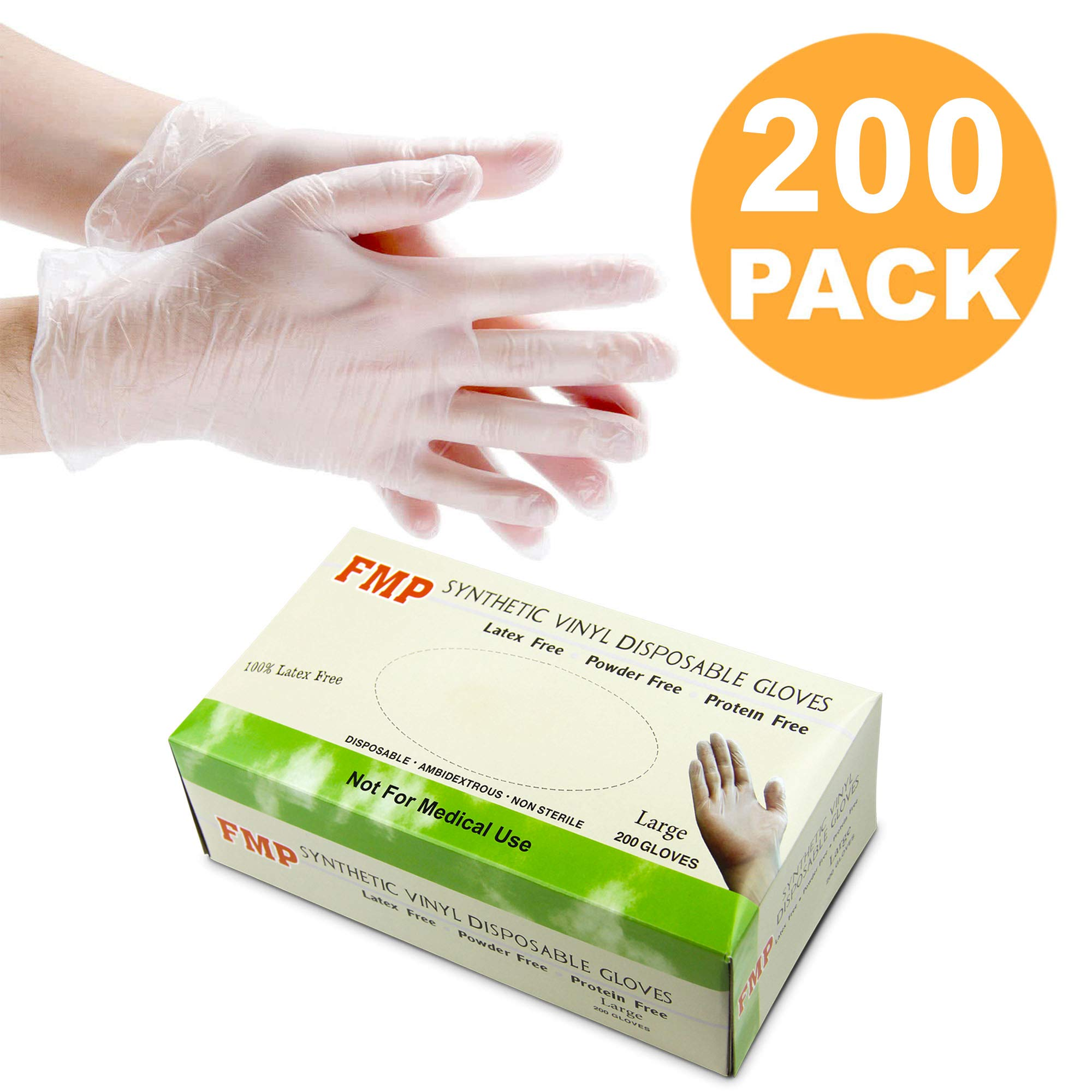 Disposable Vinyl Gloves, Non-Sterile, Powder Free, Smooth Touch, Food Service Grade, Large Size [200 Pack] by Fit Meal Prep