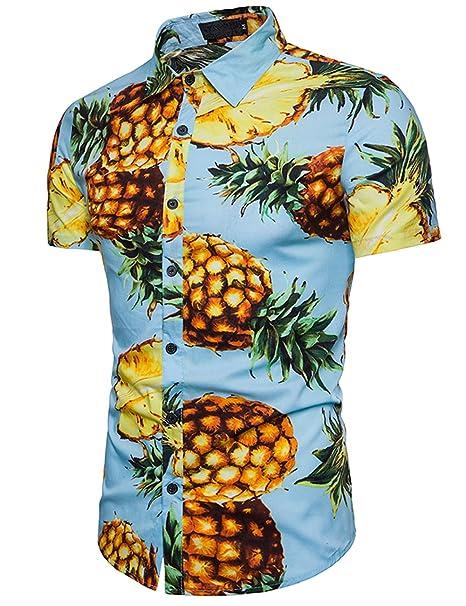 Camisa Hawaiiana Hombre Casual Estampado de Piña Manga Corta para la Playa, Fiestas, Verano y Vacaciones